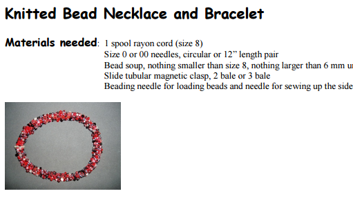 Tutorial: Knitted Bead Necklace and Bracelet